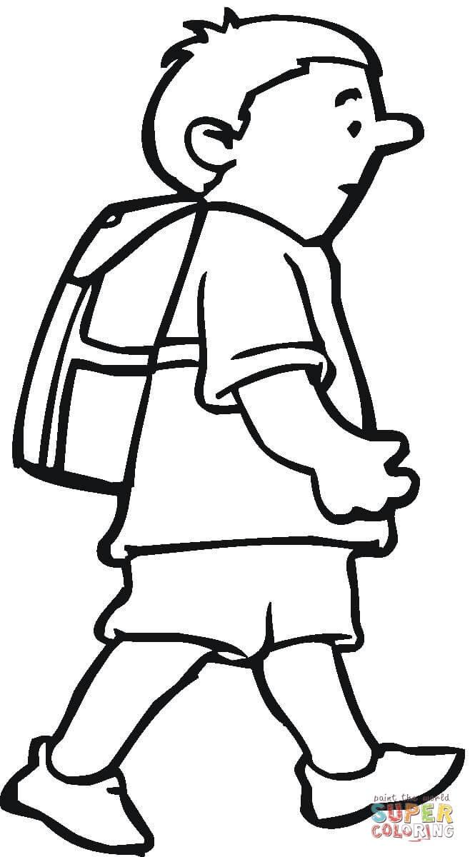 dibujo de estudiante en linea ausmalbild schuljunge