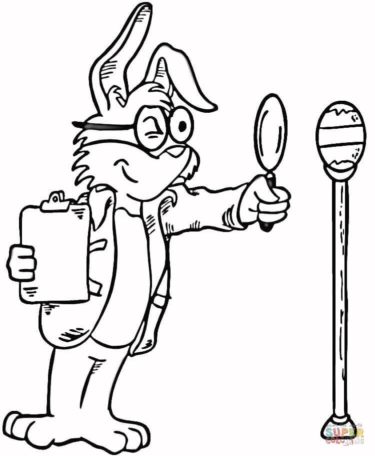 Dibujo de Caricatura de un Conejo con una Lente para