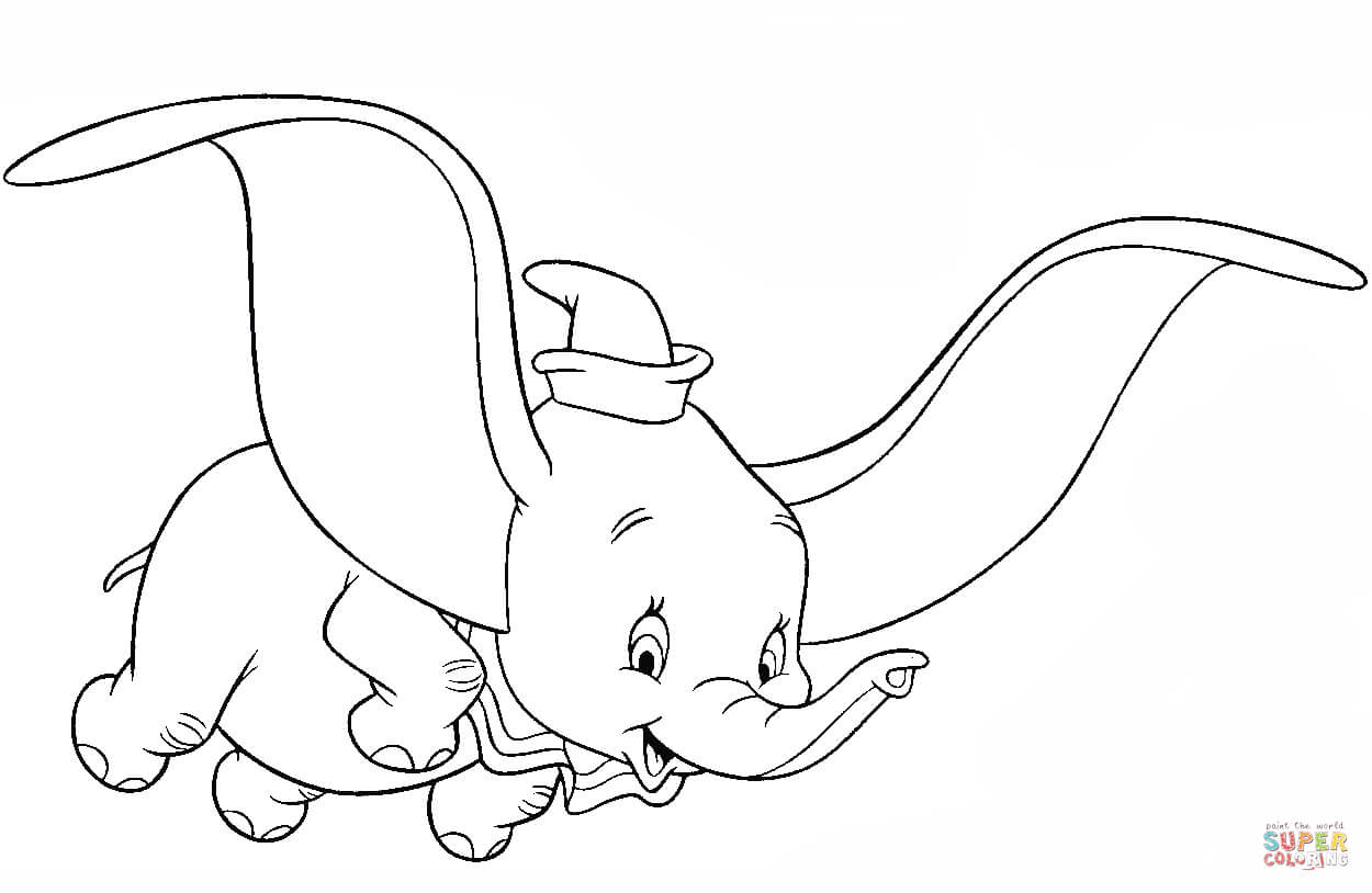 Dumbo The Flying Elephant Coloring Page