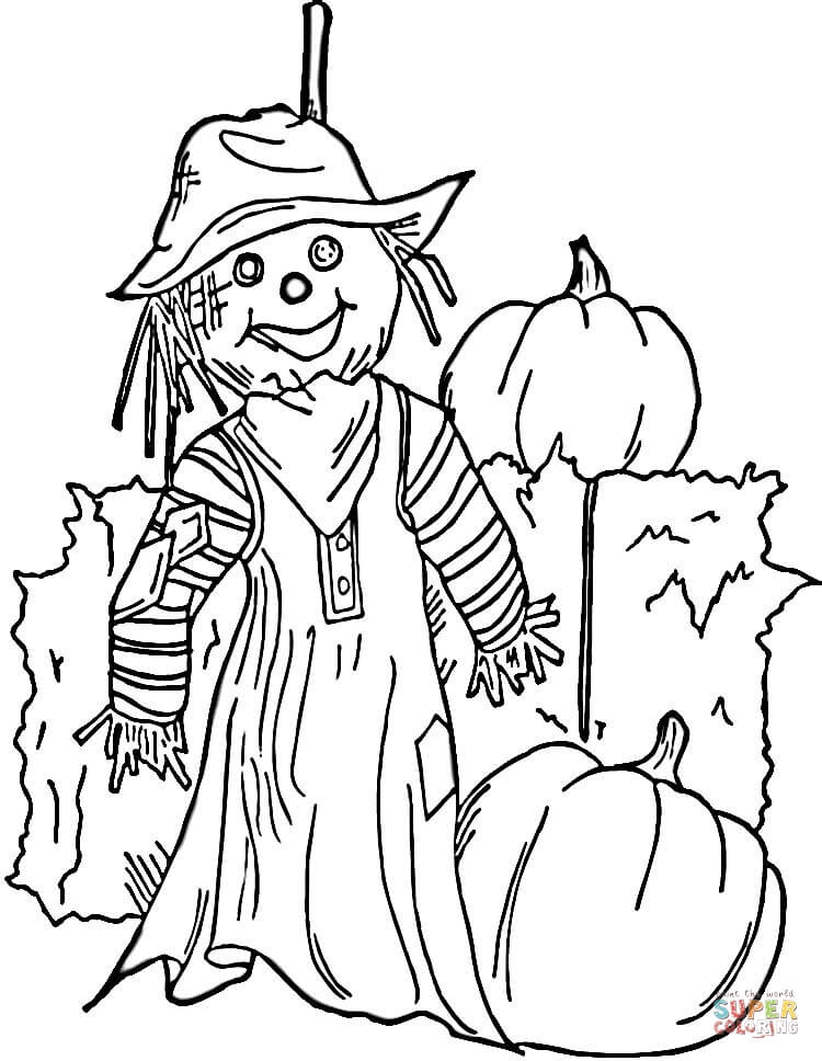 halloween scarecrow coloring page  free printable