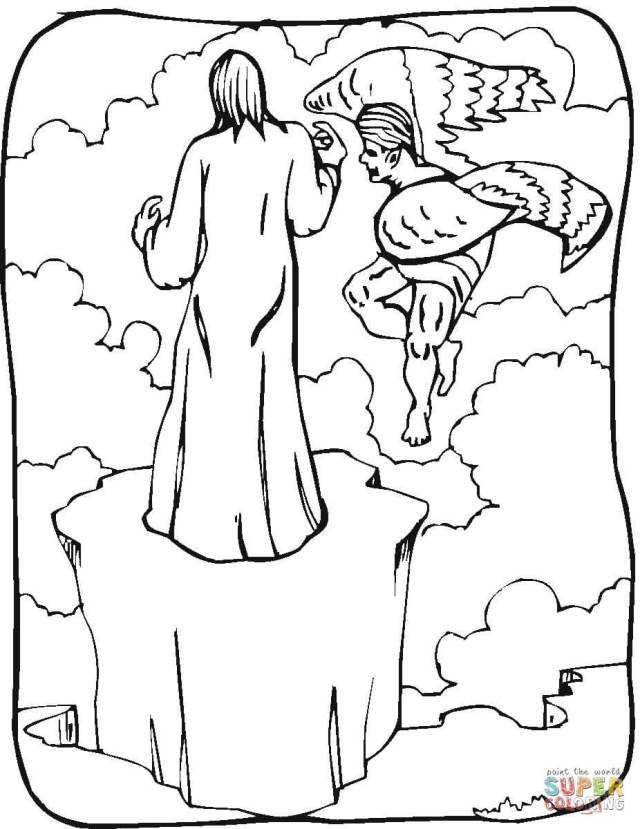 Temptation of Jesus coloring page  Free Printable Coloring Pages