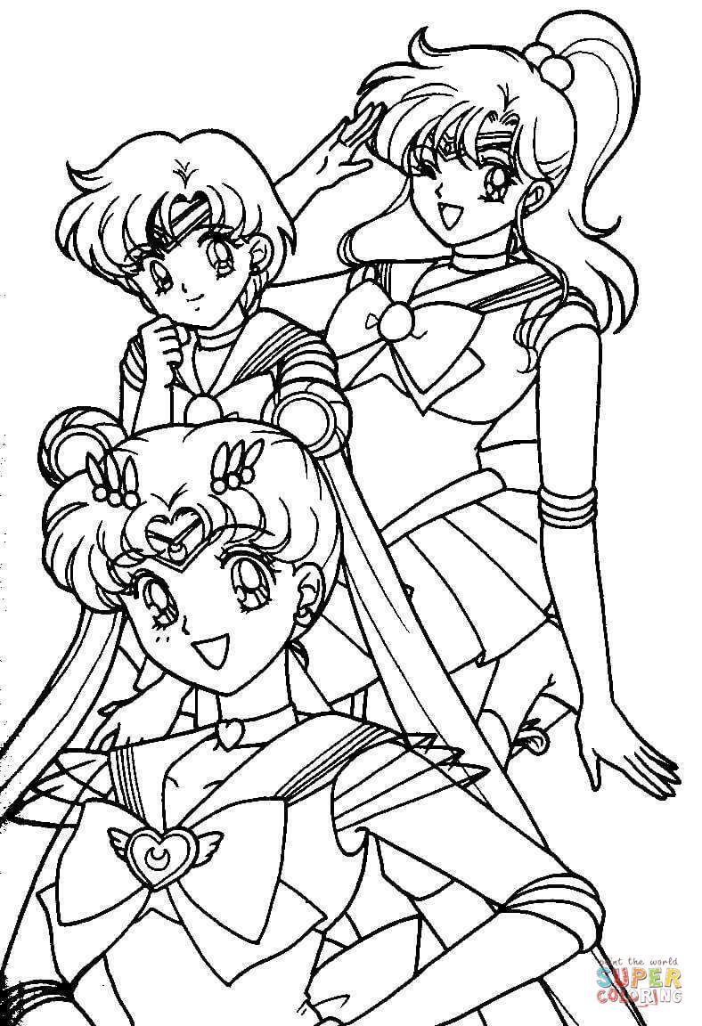 Dibujo de Las chicas de Sailor Moon para colorear