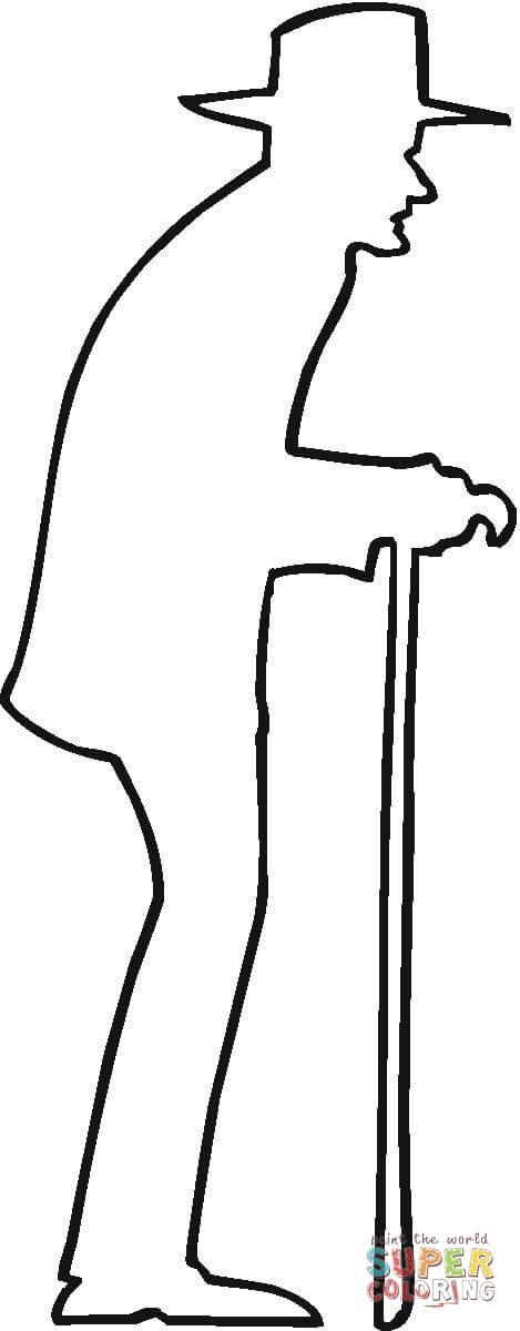 Disegno di Contorno di signore anziano da colorare