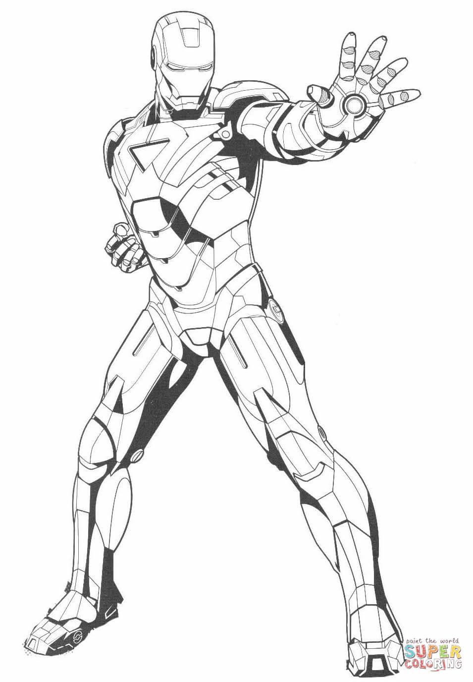 Dibujo de Iron Man Detiene al Enemigo para colorear