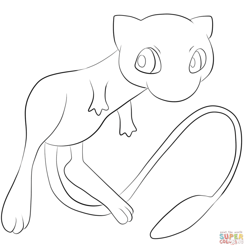 Pokemon Mew Coloring Page Free Printable Pages