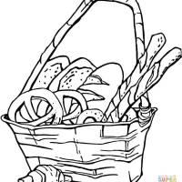 Ausmalbild Korb mit Brezeln und Brot   Ausmalbilder ...