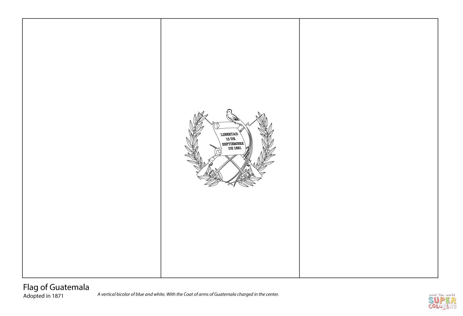 Guatemala Flag Coloring Pages