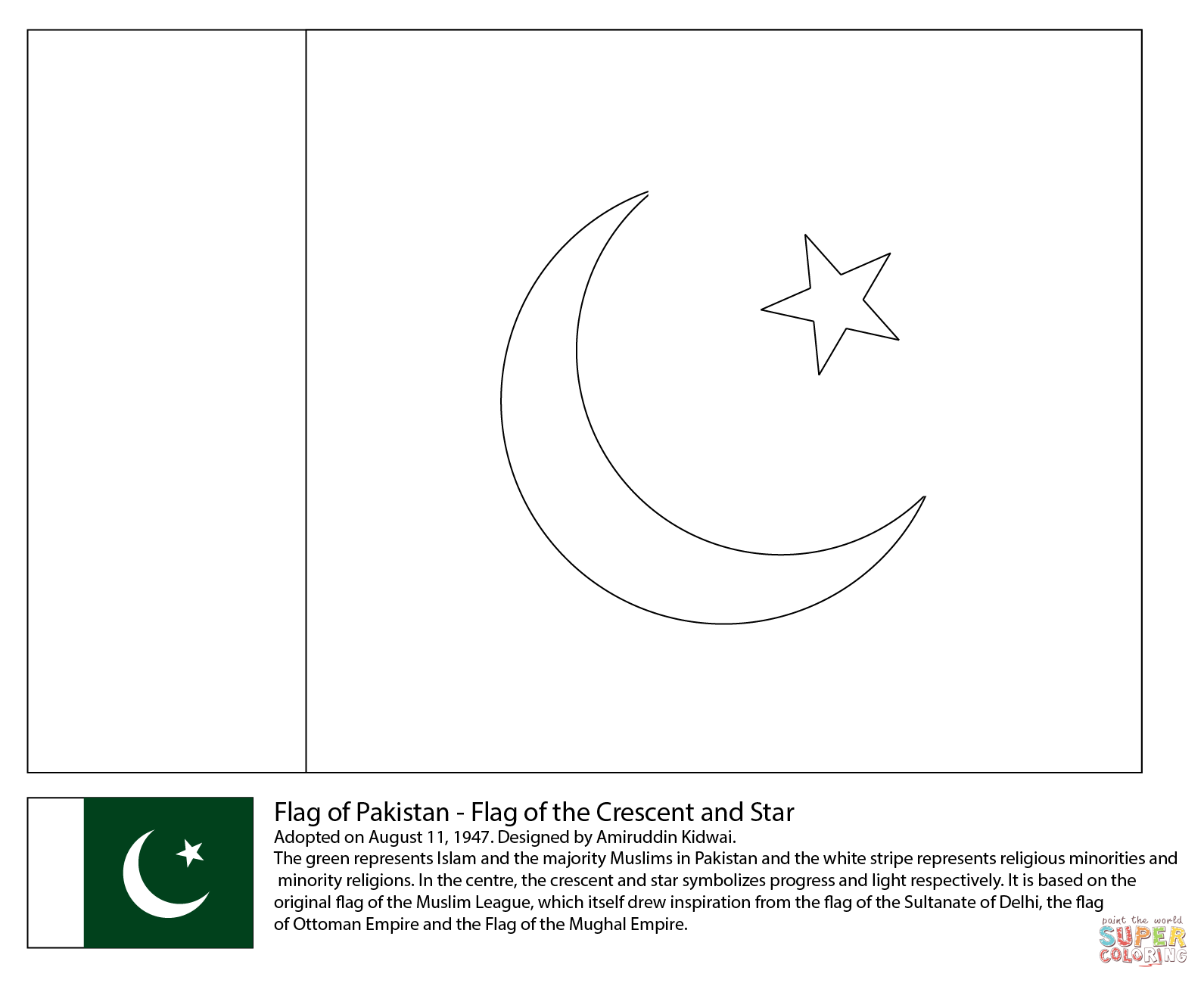 Flag Of Pakistan Coloring Page