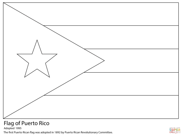 Puerto Rico Flag coloring page  Free Printable Coloring Pages