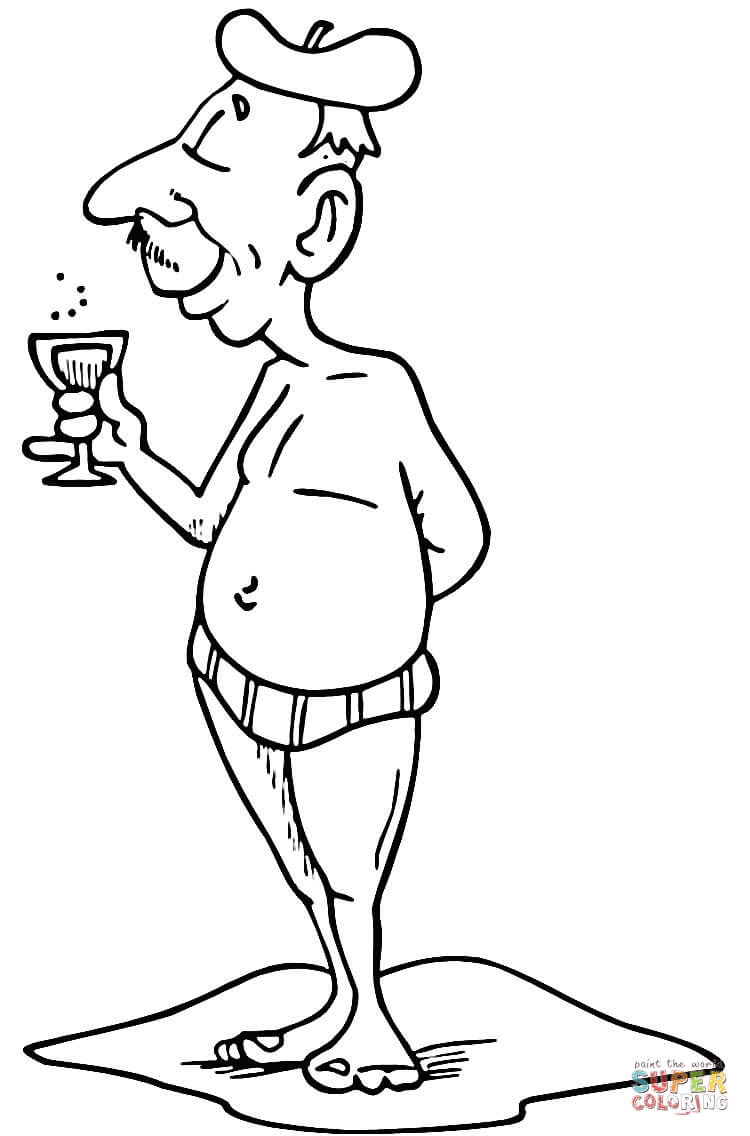 French Grandpa coloring page