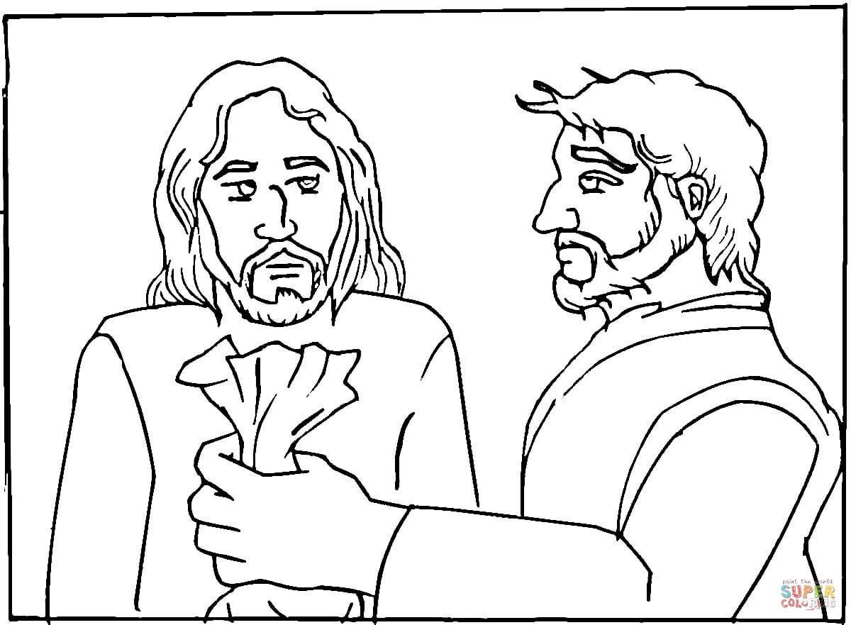 Judas Betrayed Jesus For 30 Pieces Of Silver Coloring Page