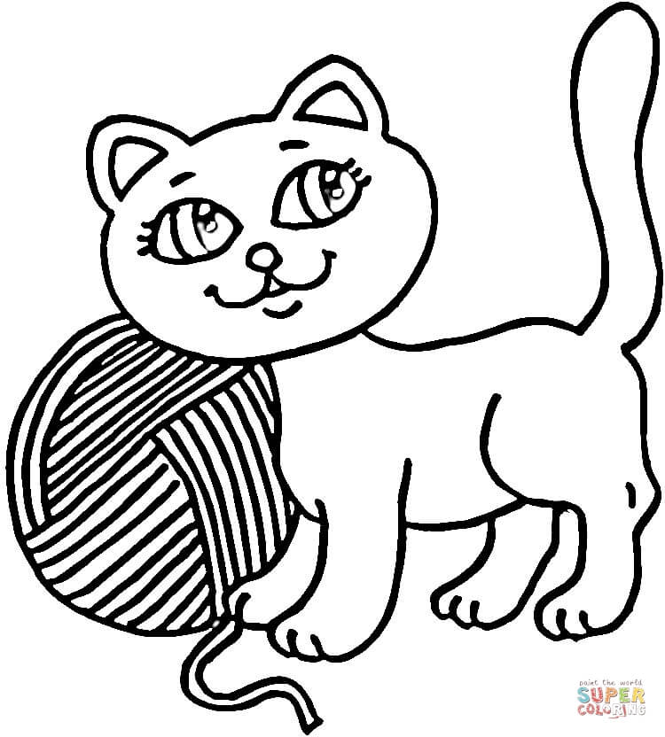 Sleep Time For A Kitty Coloring Page