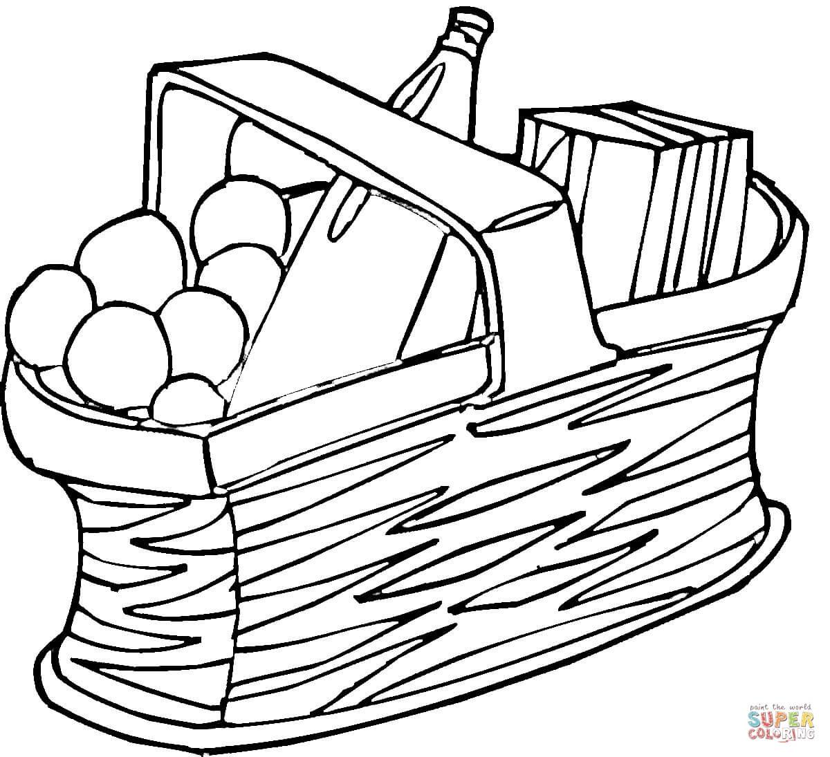 Picnic Basket Coloring Page