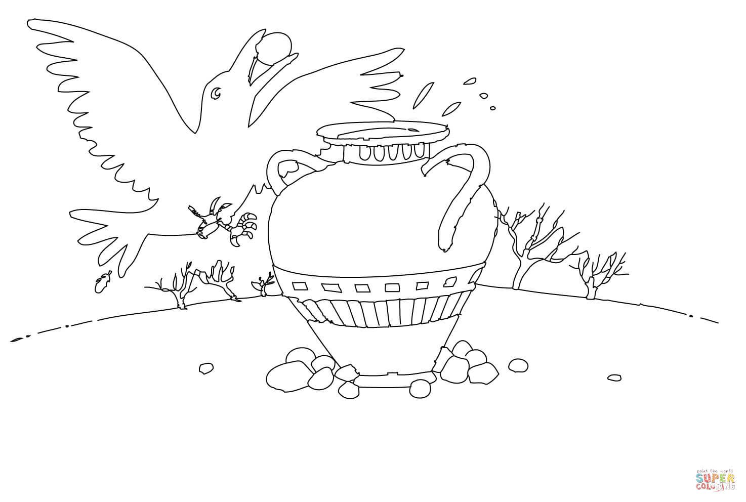 Thirsty Crow Coloring Page