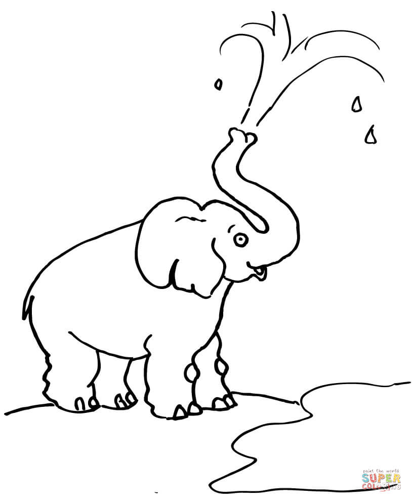 Dibujo de Caricatura de un Elefante Lanzando Agua para