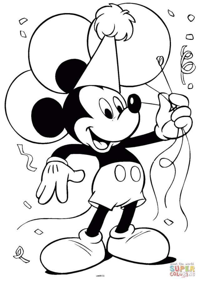 Mickey Mouse with Balloons coloring page  Free Printable Coloring