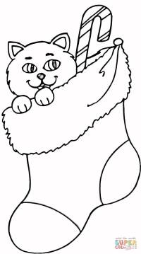 Cat In Stocking coloring page | Free Printable Coloring Pages