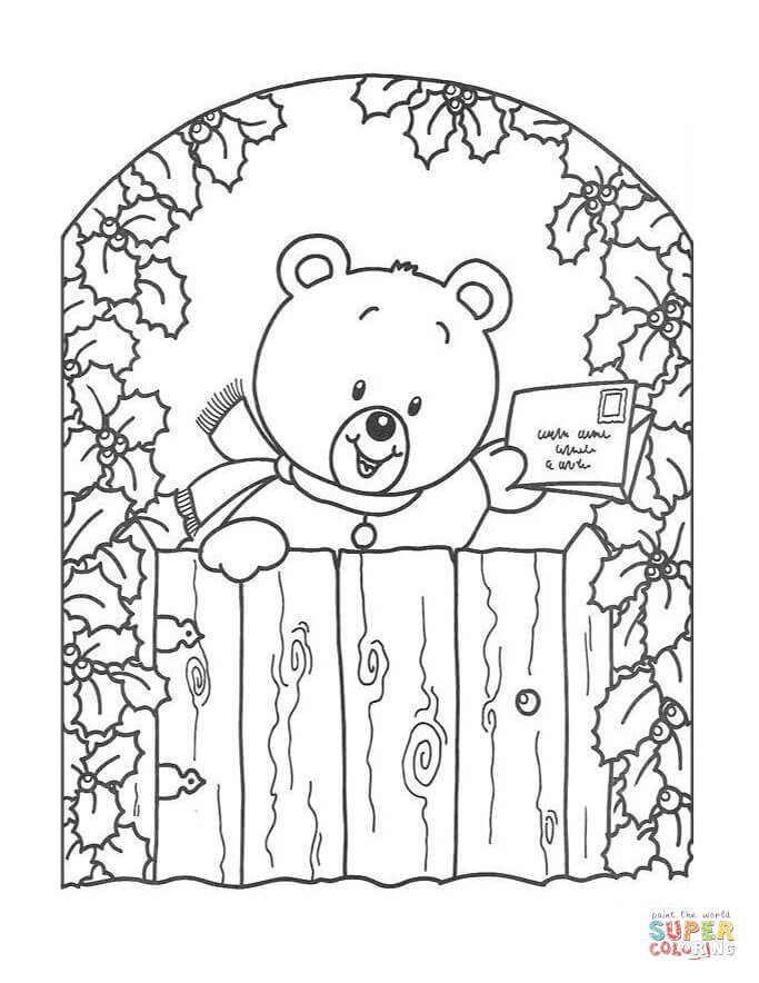 Teddy bear with Christmas Greeting Card coloring page