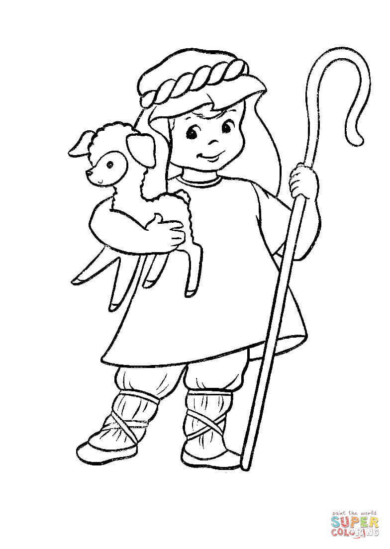 Sheep And Shepherd Coloring Page