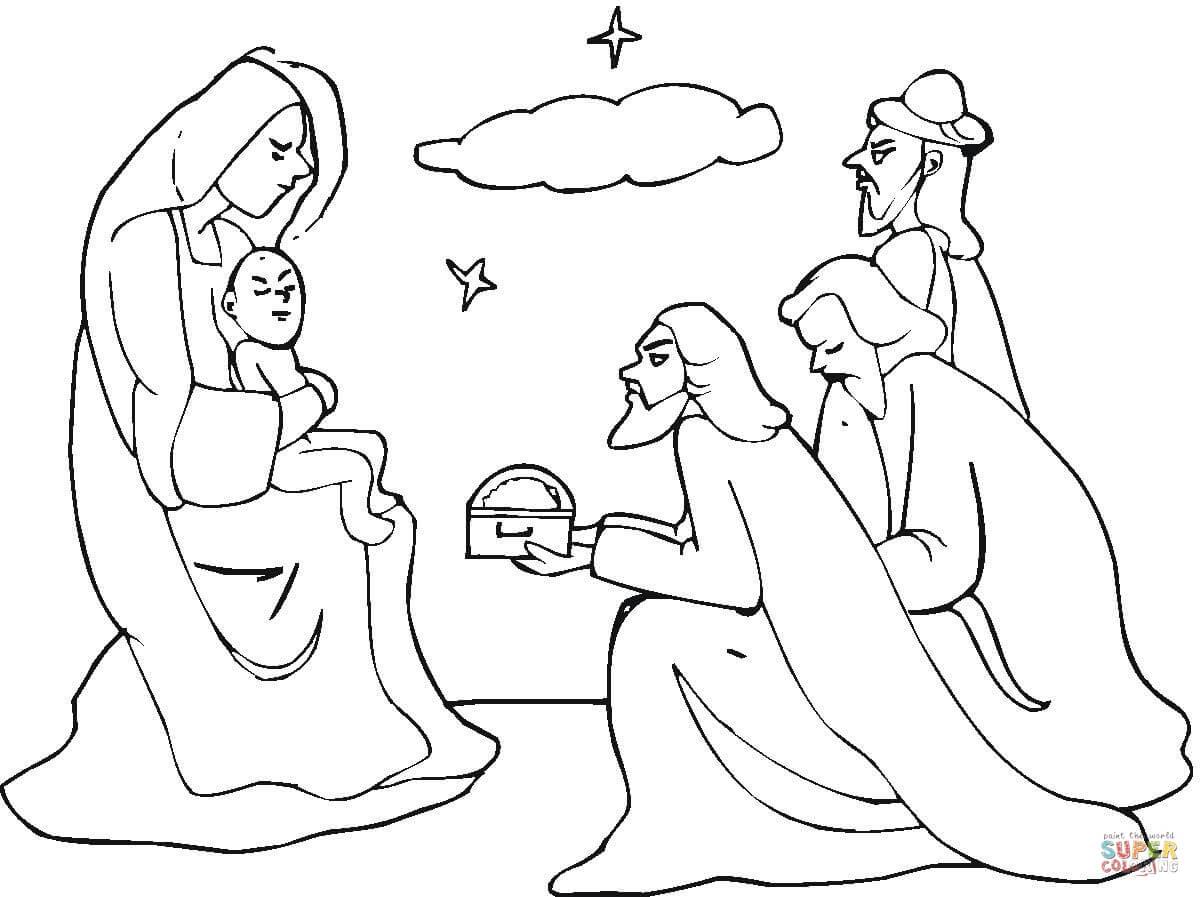 Dibujo de Los Reyes Magos de Oriente Visitan a Jesús para