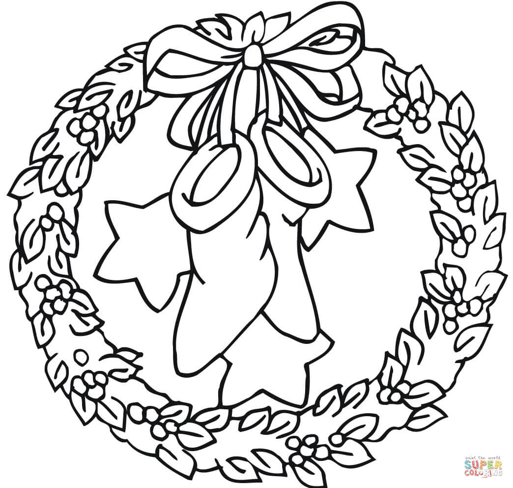 Wreath With Bow Holding Stockings And Stars Coloring Page