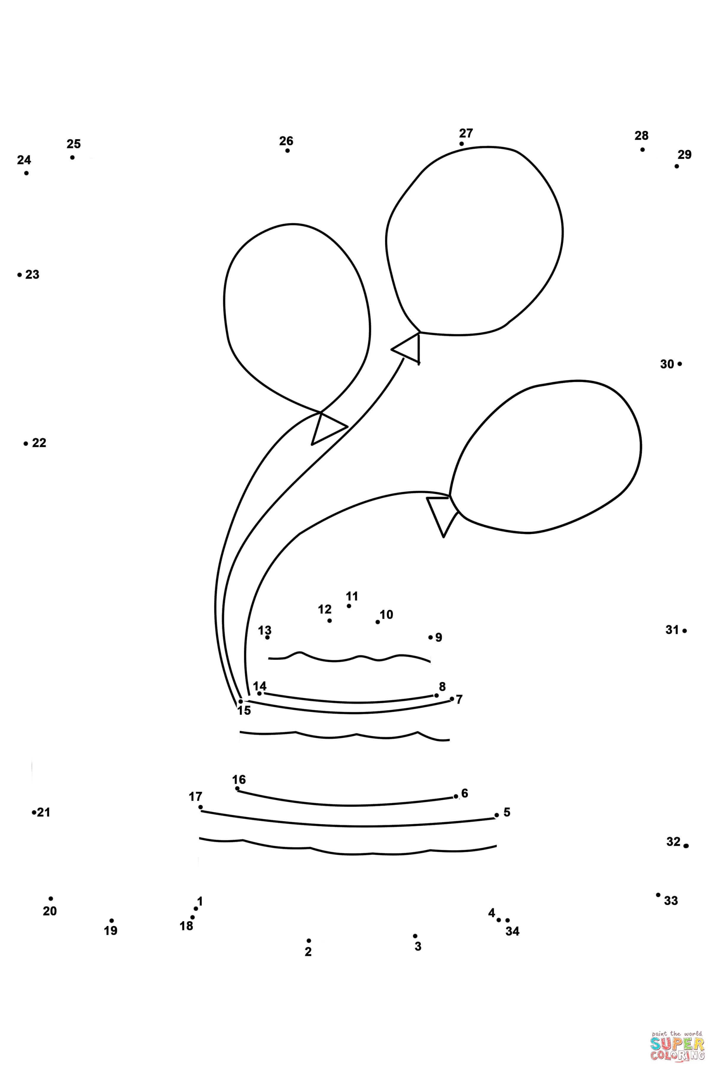 Cake And Balloons Dot To Dot