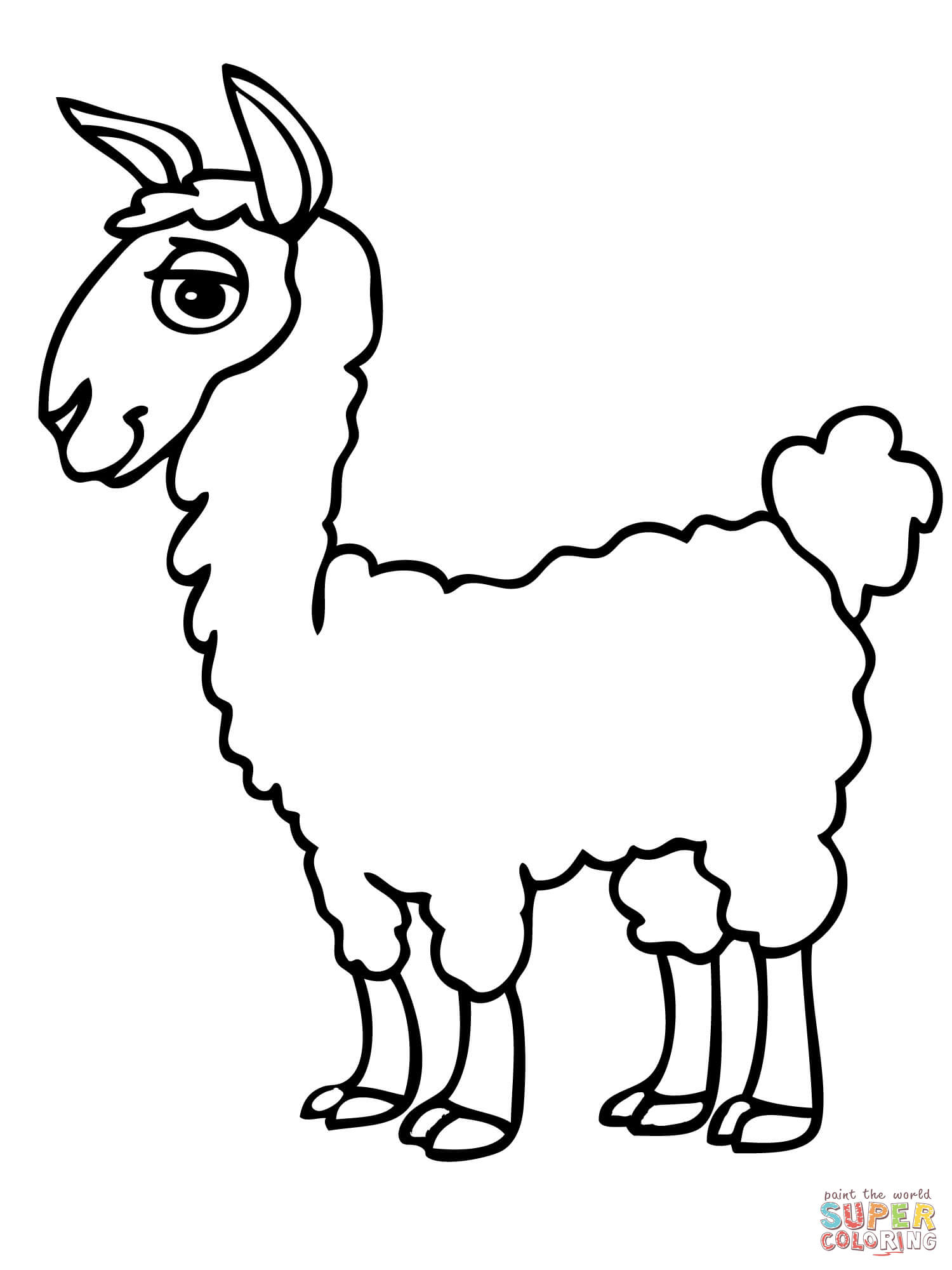 Cute Alpaca Coloring Page