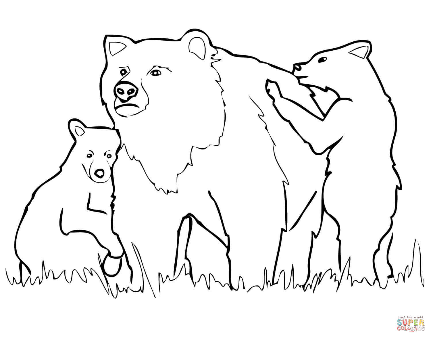 Grizzly Bear Mother And Cubs Coloring Page