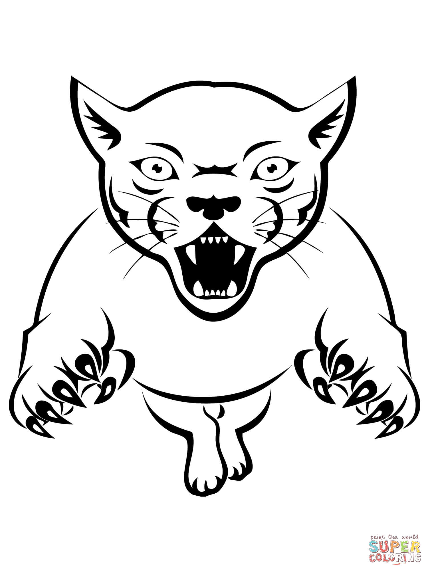 Coloriage - Puma qui attaque Coloriages à imprimer gratuits