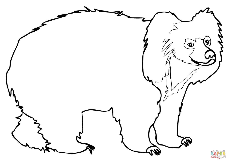 Sloth Bear Coloring Page
