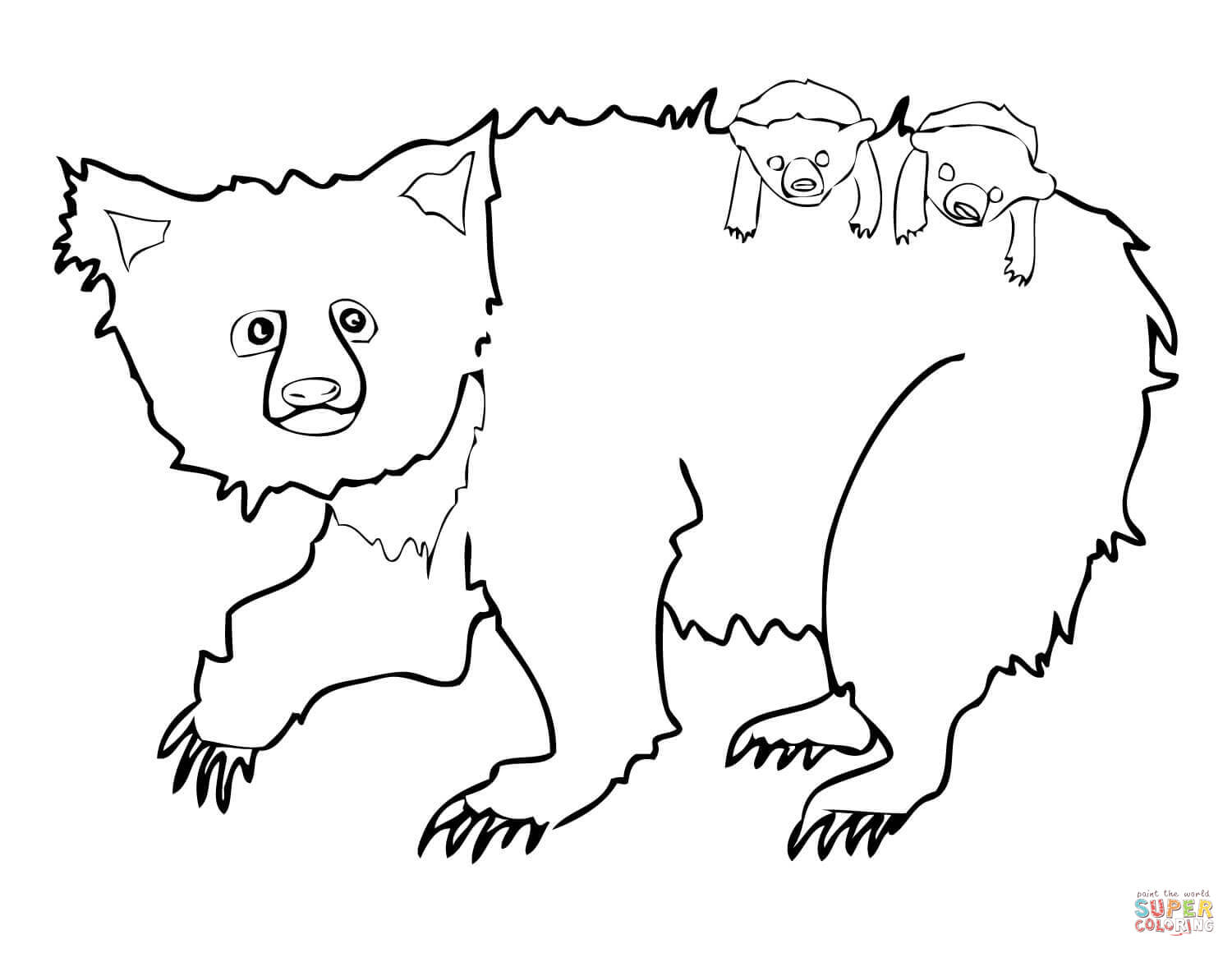 Sloth Bear Mother And Two Cubs Coloring Page
