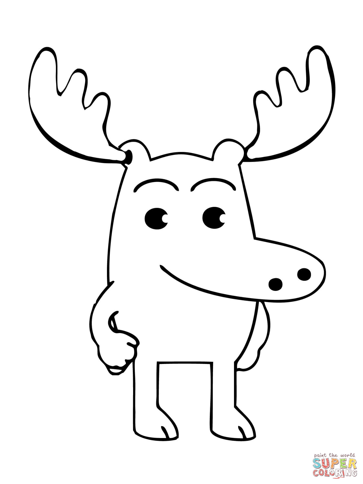 Moose A Moose Is Standing Casually Coloring Page Free