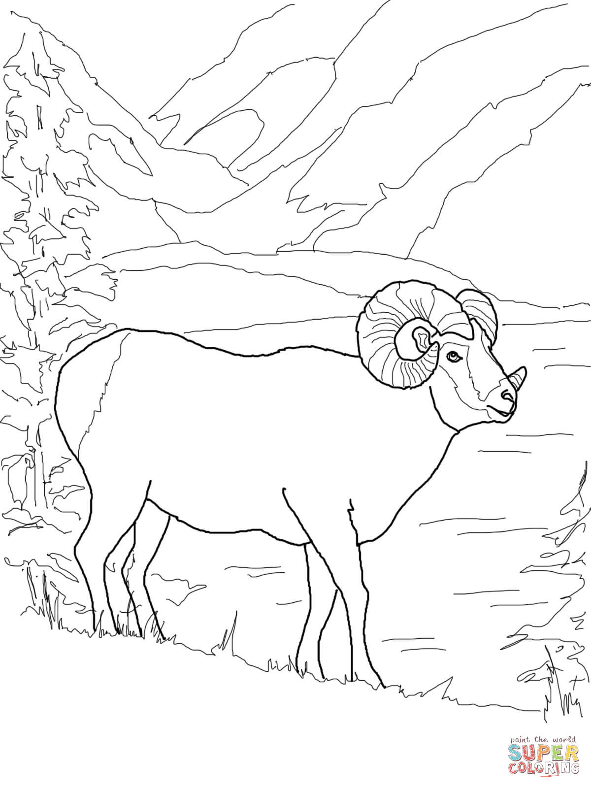 Bighorn Sheep Coloring Pages