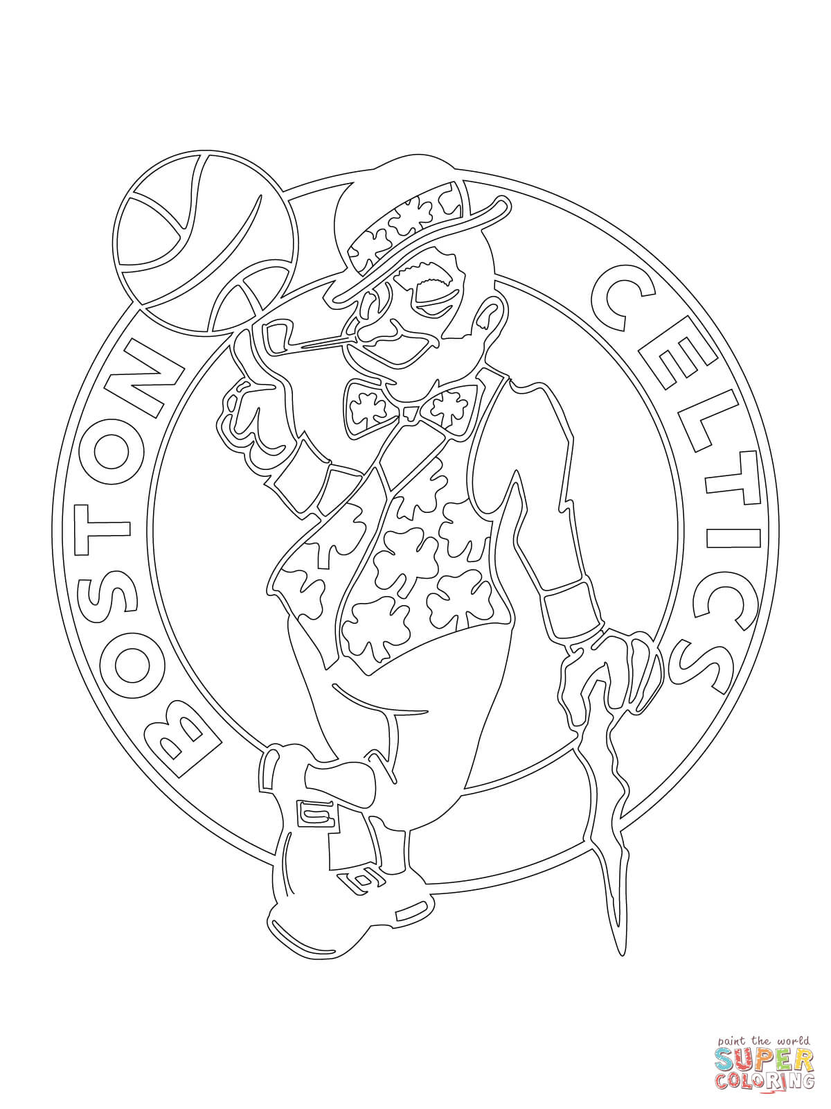 Coloring pages boston celtics coloring page