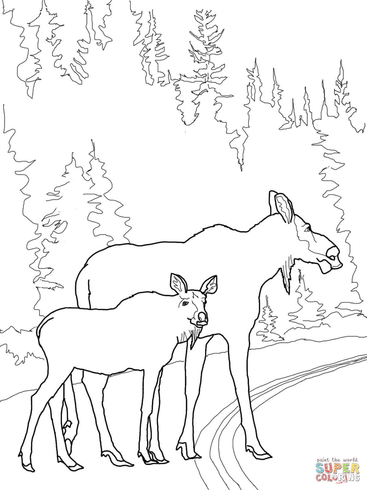 Moose Cow With Calf Crossing The Road Coloring Page