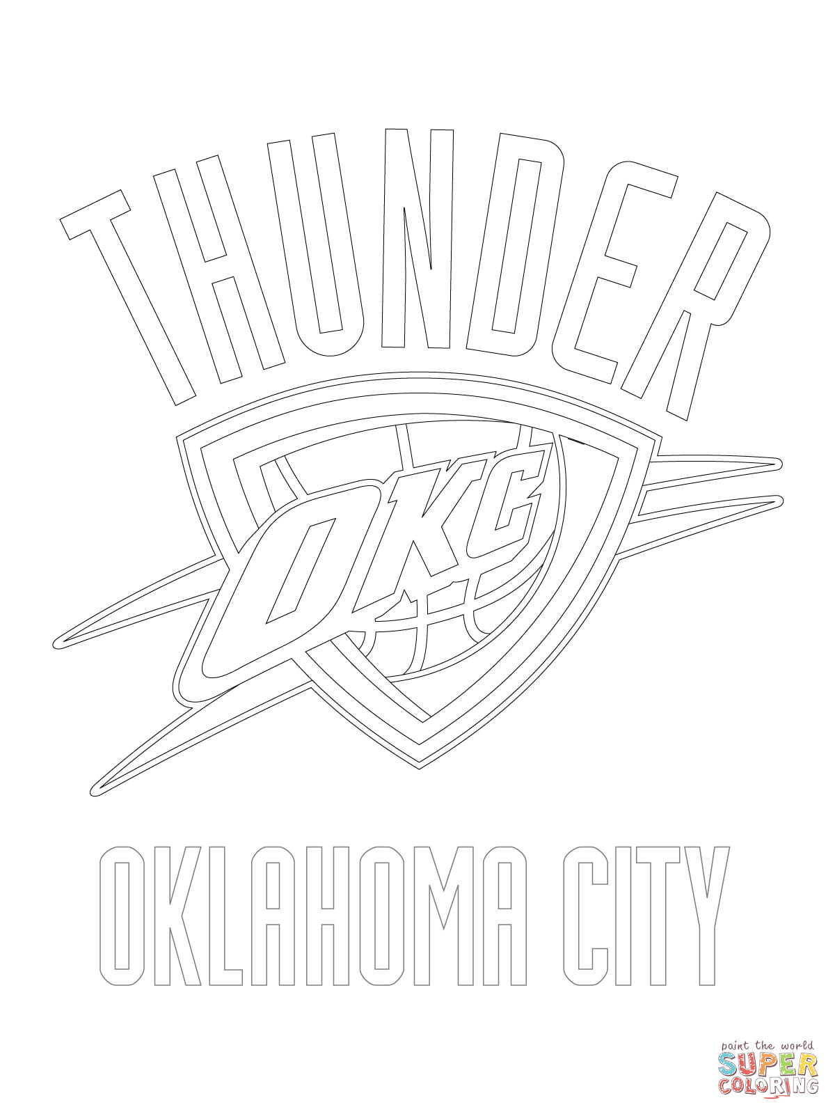 Oklahoma City Thunder Logo Coloring Page