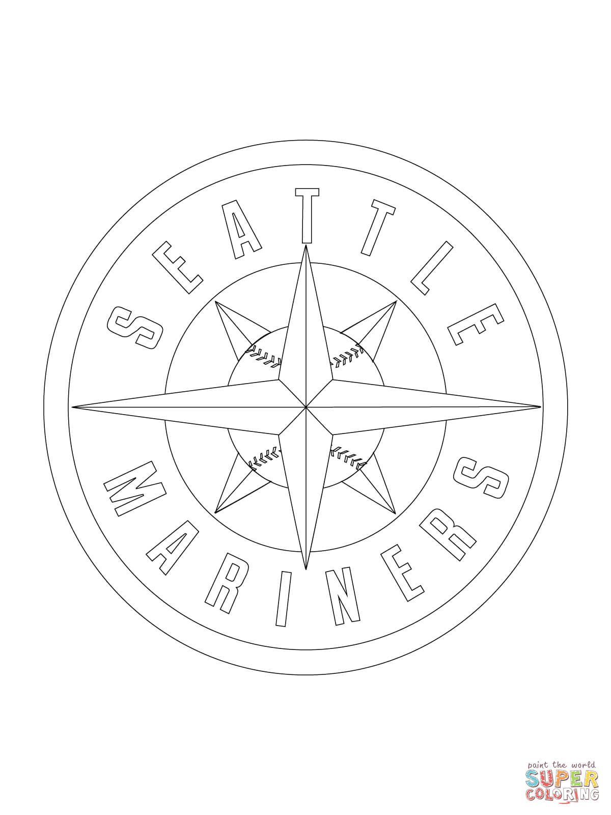 Seattle Mariners Logo Coloring Page