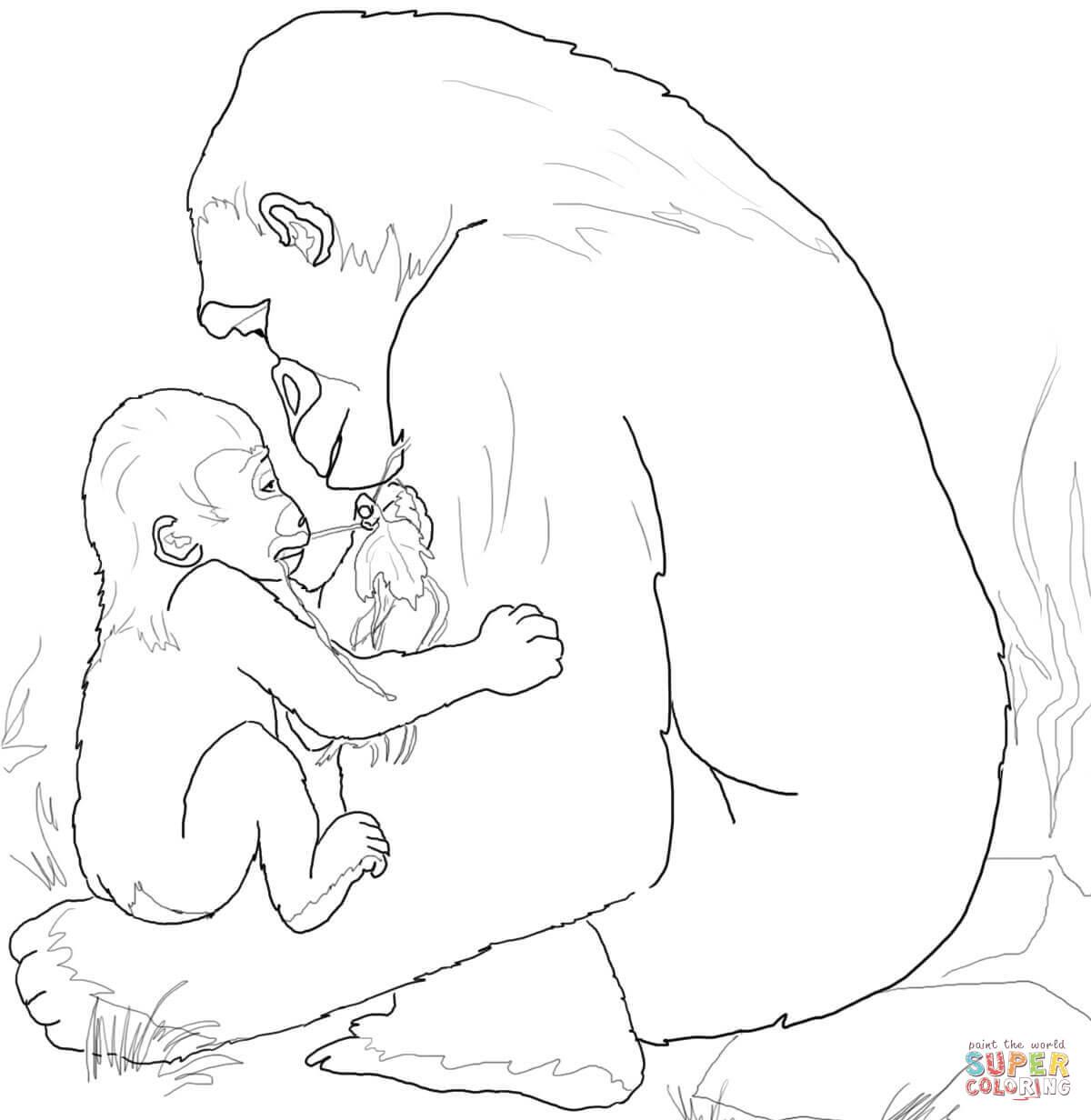 Ausmalbild Gorilla Baby Spielt Mit Seiner Mutter