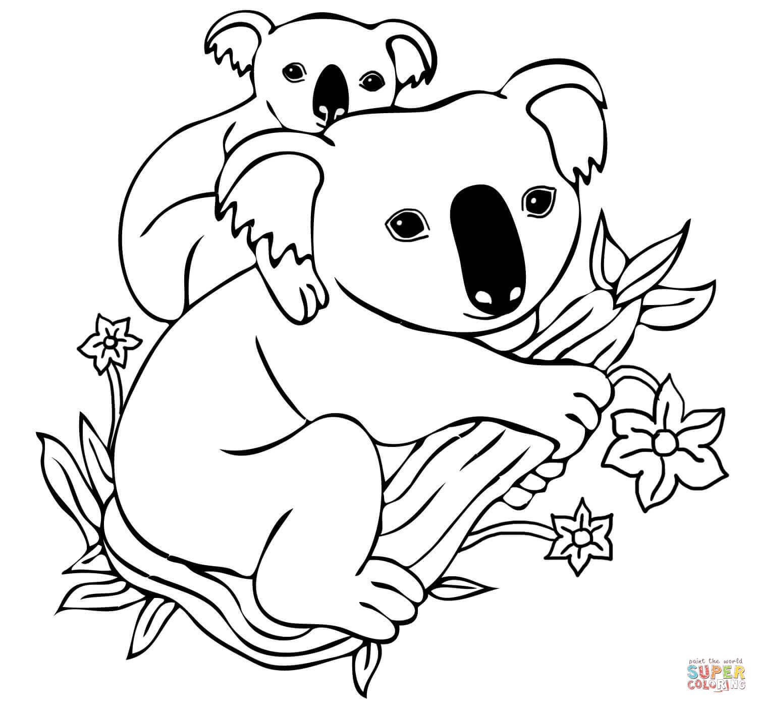 Baby Koala On Mother S Back Coloring Page