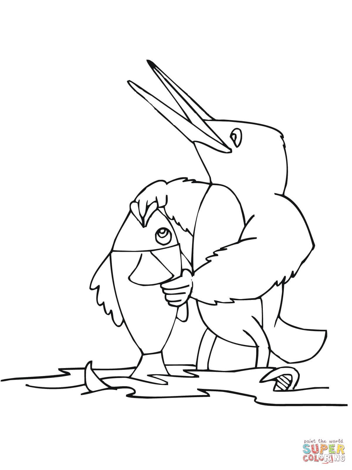 Disegno di Martin pescatore stilizzato con pesce da