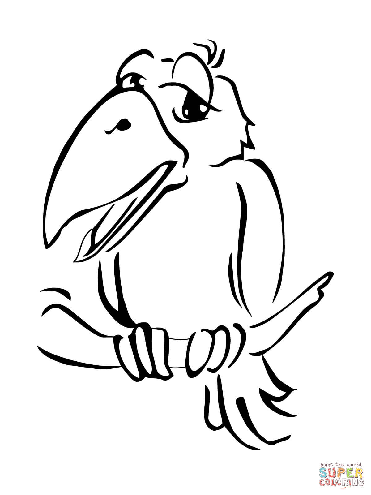 Cute Crow On Branch Coloring Page
