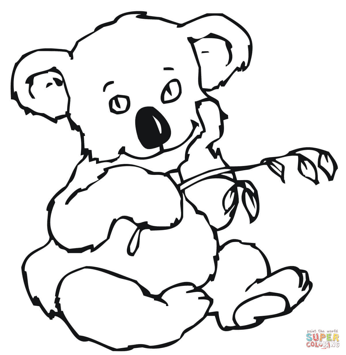 Cute Koala With Eucalyptus Leaves Coloring Page