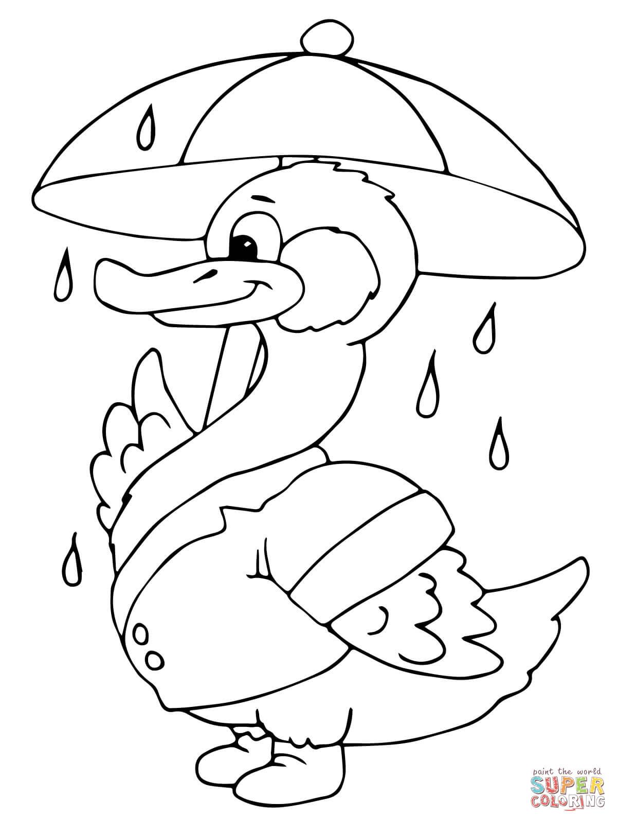 Eend Met Paraplu In De Regen Kleurplaat