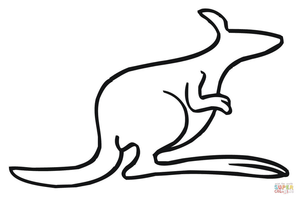Kangaroo Outline Coloring Page