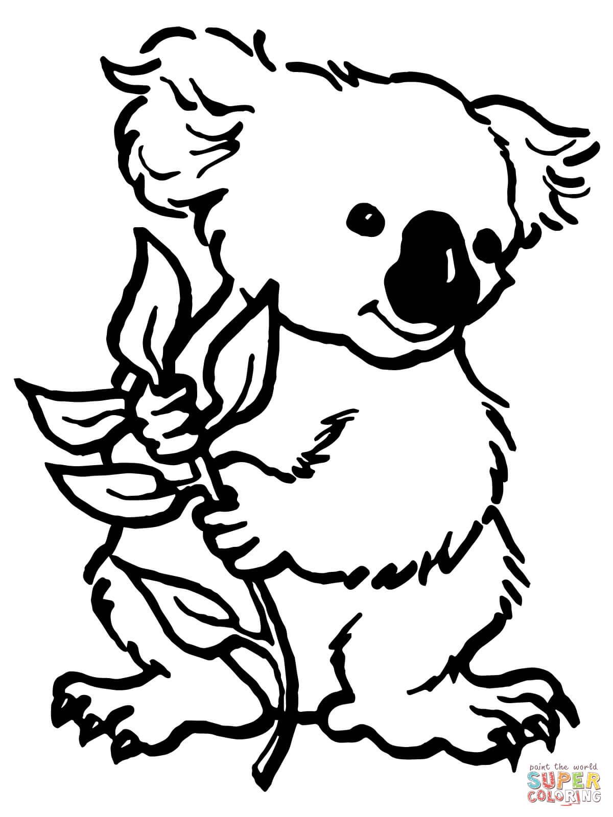 Dibujo de Caricatura de un Koala con hojas de eucalipto