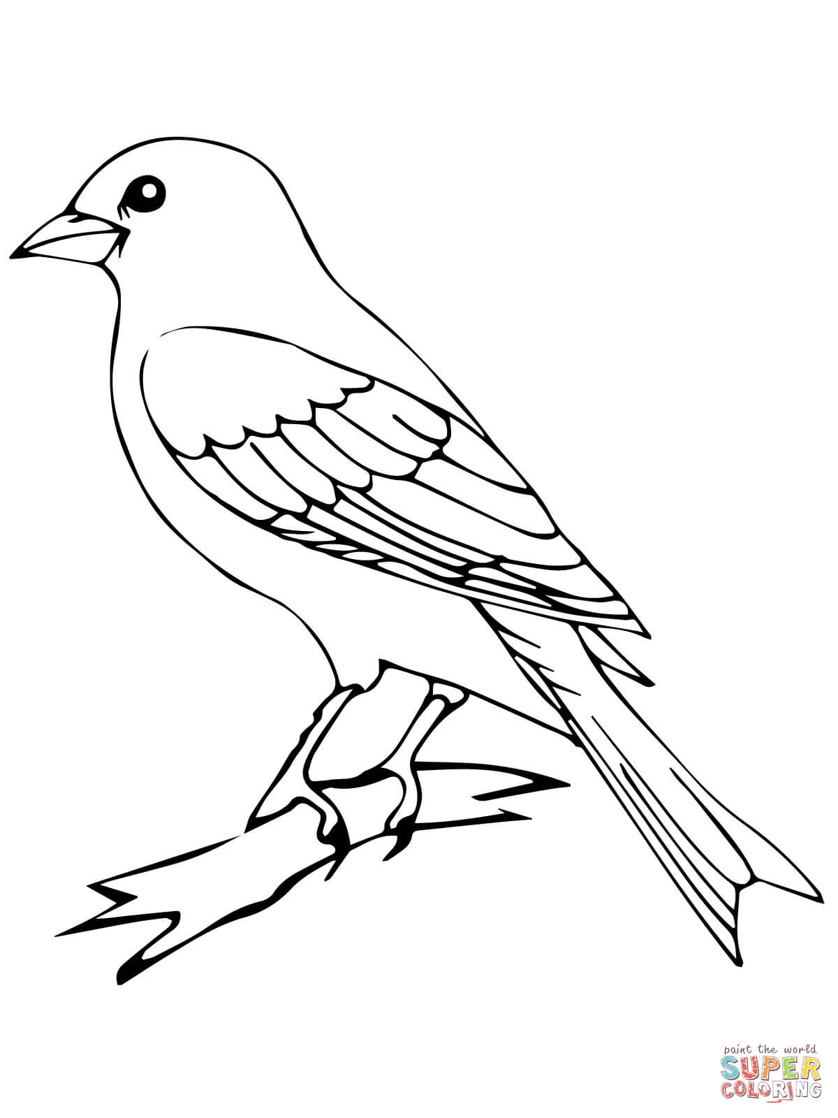 Perched Canary Bird Coloring Page