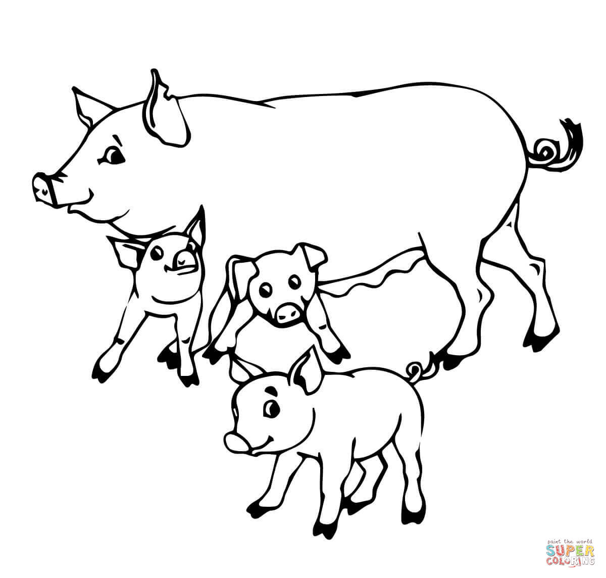 Pig Mother And Baby Pigs Coloring Page