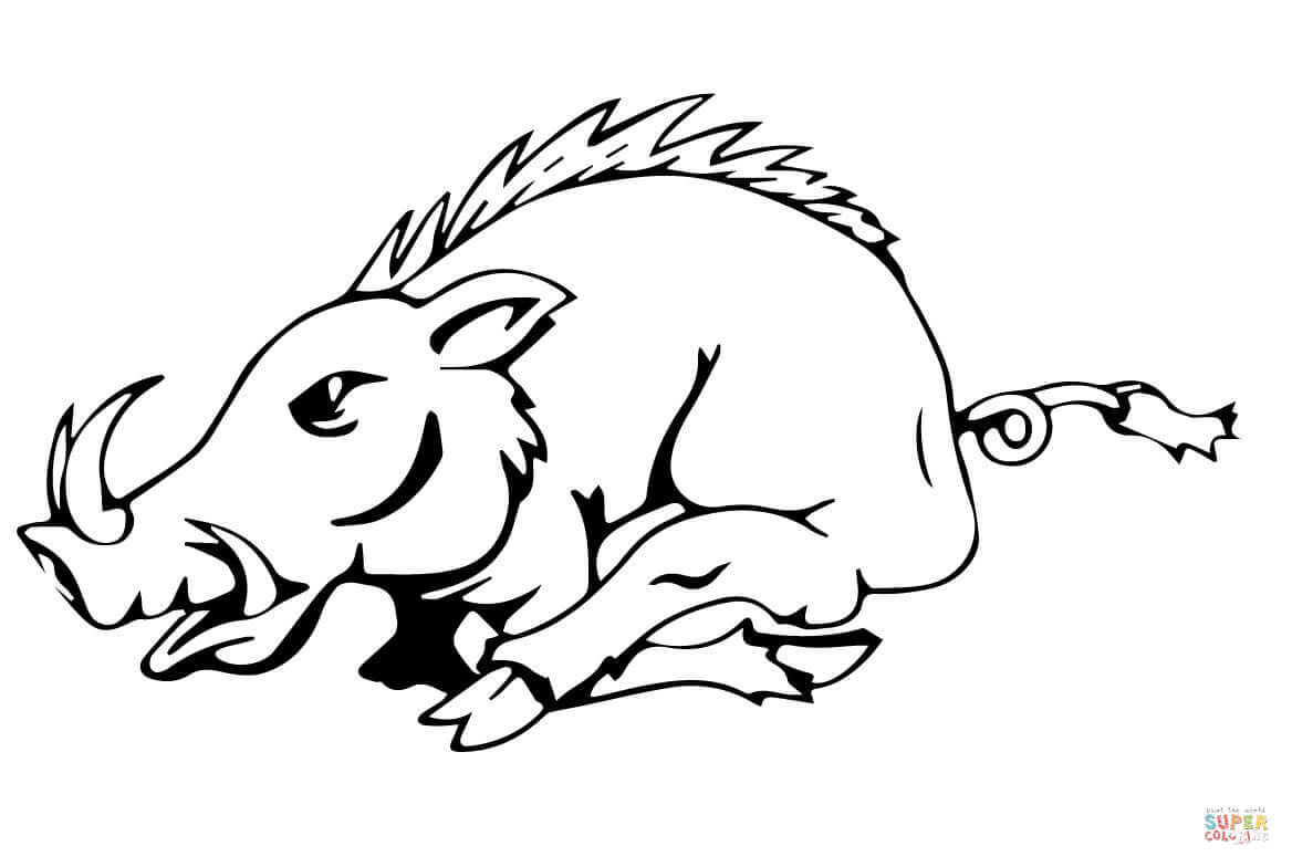 Running Razorback Coloring Page