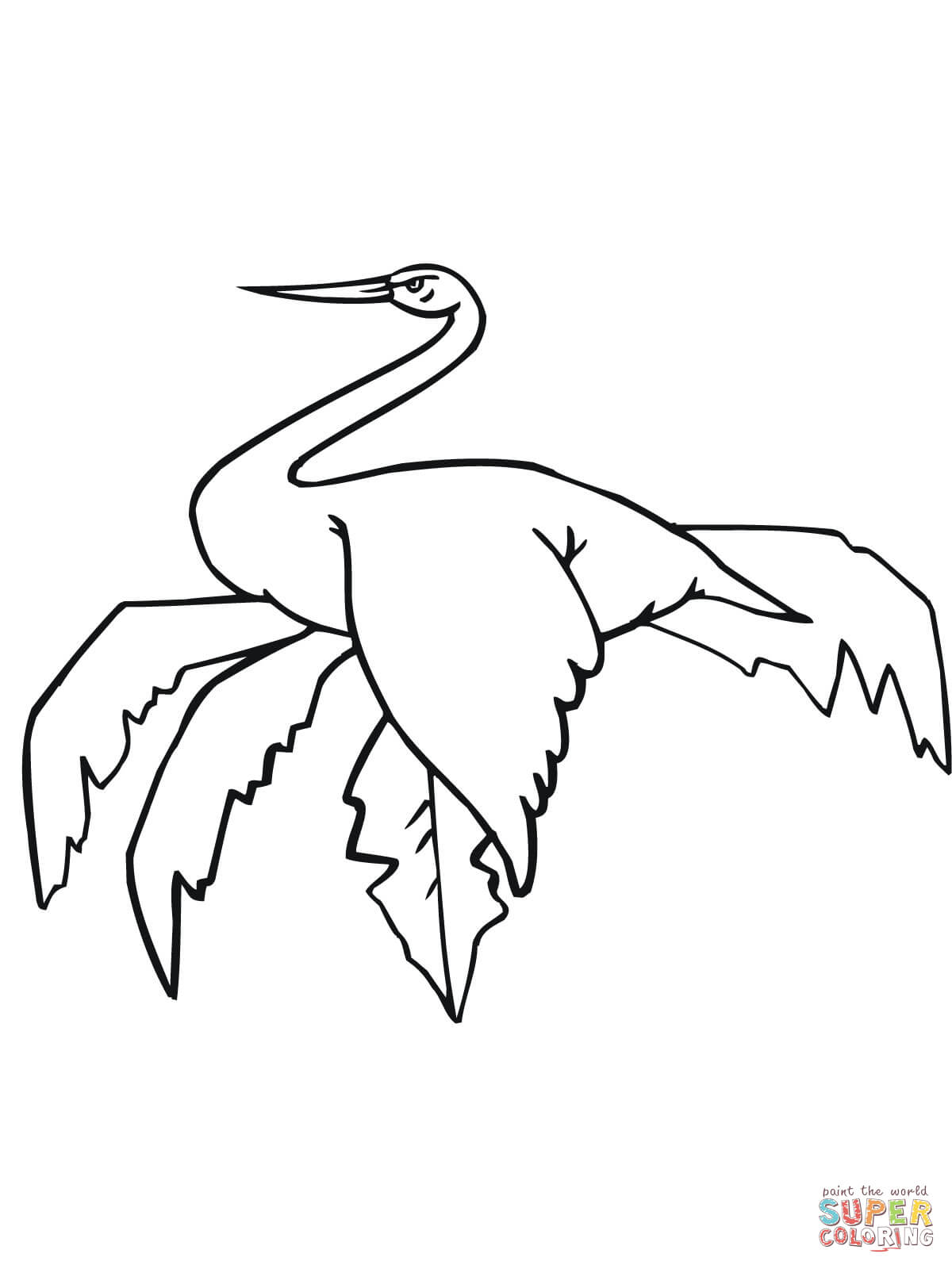 Sitting Stork Coloring Page