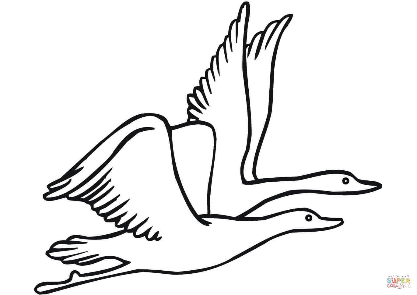 Two Flying Geese Coloring Page Free Printable Coloring Pages